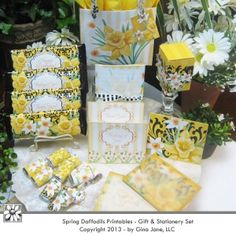 Easter - Spring Daffodils - Pretty Boxes, Bags, Cards, Envelopes and Hershey Candybar Wrappers for making your own Gift Baskets this Easter... Beautiful!  DAISIE COMPANY: Printable Digital Paper Crafts, Clipart, Scrapbooking, Stamp, Party - DaisieCompany.com
