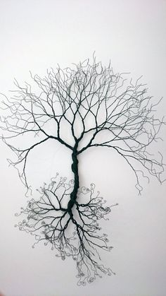 Baum aus Draht gespiegelt / Wire wall Art tree of life wall decoration. by WireArtbyCatherine Wire Wall Art, Metal Tree Wall Art, Metal Art, 3d Wall Art, Wood Wall, Boli 3d, Arte Bob Marley, Art Du Fil, Wire Trees