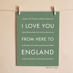 I Love You From Here To ENGLAND art print - HopSkipJumpPaper  - 4