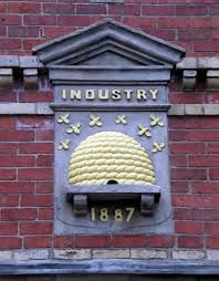 A decorative element on the former home of the Leven Reform Co-operative Society in Leven, Fife, Scotland Manchester Worker Bee, Manchester Uk, Northern England, Bee Friendly, Salford, My Town, North Yorkshire, My Heritage, Liverpool