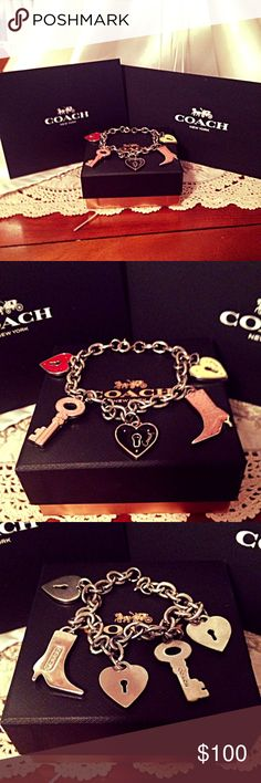 """Coach Heart Key Boot Bracelet 8"""" ❤️🔑👢🎄🎅🏻🎁 Coach Heart Key Boot Bracelet 8"""" in Excellent condition. Do not see any scratches or wear on the bracelet that I can fine. I ship Monday through Friday 24 to 48 hours after purchase. If you have any questions please ask.:)) Coach Jewelry Bracelets"""
