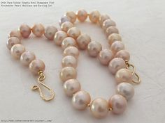 Rare Colour Chunky Oval Champagne Pink Freshwater Pearl Necklace and Earring Set
