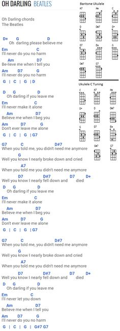 Oh Darling - The Beatles. Chords for Baritone Uke and Standard Uke with C tuning.