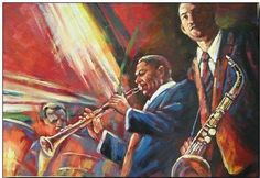 oil painting on canvas, jazz musicians