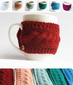 Knit cup knit coffee cozy cup warmer coffee mug by EcoMagicStudio