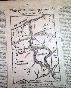 Rare War of 1812 map of the Niagara region...  THE YANKEE, Boston, September 16, 1814 newspaper...