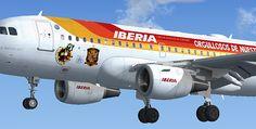 """Iberia A319-111 Selección,Iberia decoró este A319 y dos A321 con """"Orgullosos de nuestra selección"""", slogan que usó primero con la selección de baloncesto"""