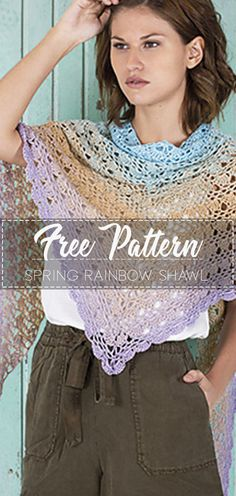 Spring Rainbow Shawl – Pattern Free #crochetpattern #crochet #freecrochetpattern #crochetamd #crochetlove #diy #tutorialcrochet #videocrochet #pattern Diy Crochet, Crochet Hooks, Crochet Things, Crochet Shawls And Wraps, Crochet Scarves, Shawl Patterns, Crochet Patterns, Prayer Shawl Crochet Pattern, Beautiful Crochet