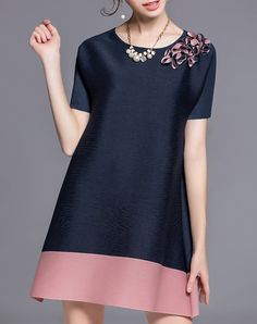 #AdoreWe #VIPme A-Line Dresses - DAIPYA Dark Blue Casual Appliqued Crew Neck Mini Dress - AdoreWe.com