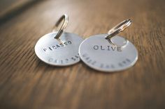 Custom Hand Stamped Silver Dog Name Tag  Black by AnimalsInCharge