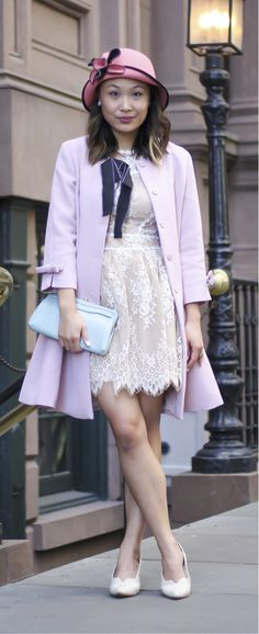 Kate Middleton outfit idea, dress like Kate Middleton, preppy outfit idea, feminine outfit, pink coat, Dezzal coat, high tea outfit. See the post on www.layersofchic.com