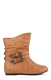 83e7bc3ec416 Tan Flat Ankle Boot with 2 Buckled Straps Tan Flats, Cold Weather Fashion,  Curvy