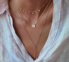 Moonstone & Diamond layered necklace.  LUNA SKYE BLOG – Luna Skye by Samantha Conn