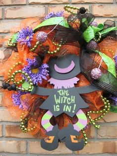 WITCH IS IN orange deco mesh wreath w/ witch by faucettandflame, $44.99