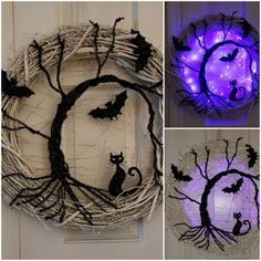 Halloween is getting closer. Are you ready for Halloween decorations? If not, look at the DIY Halloween wreath project I prepared for you today. If you want to find some fun and economical Halloween decorations for your home. These DIY Halloween wrea Spooky Halloween, Happy Halloween, Fete Halloween, Halloween Door Decorations, Holidays Halloween, Halloween Crafts, Holiday Crafts, Diy Halloween Wreaths, Halloween 2019