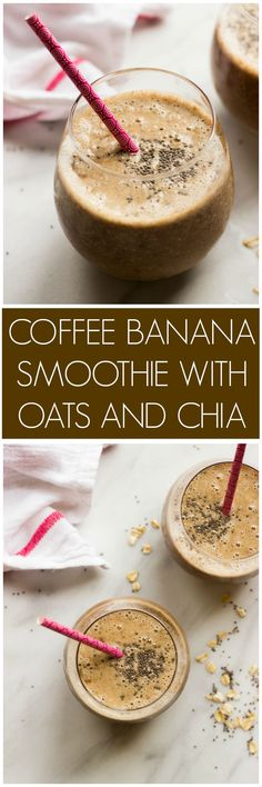 Coffee Banana Smoothie with Oats and Chia - coffee and a smoothie in one Made with healthy ingredients littlebroken Yummy Smoothies, Smoothie Drinks, Yummy Drinks, Healthy Drinks, Smoothies With Oats, Green Smoothies, Protein Smoothies, Smoothie With Chia Seeds, Organic Smoothies