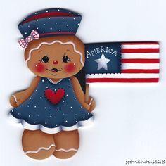 HP GINGERBREAD Patriotic Girl FRIDGE MAGNET #Handpainted
