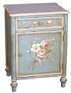 French rose shabby chic blue 2 drawer chest