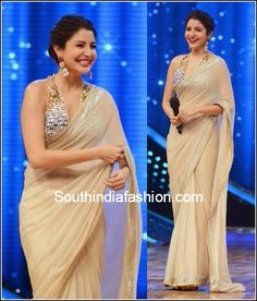 Miss Sharma visited the sets of Nach Baliye 7 draped in Abu Jani Sandeep Khosla sheer nude sari paired with an embellished blouse. Saree Jacket Designs, Sari Blouse Designs, Saree Blouse Patterns, Dress Designs, Asian Wedding Dress, Indian Wedding Outfits, Wedding Sari, Indian Attire, Indian Wear