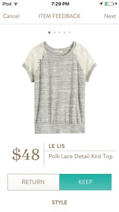 Le Lis Polli I adore this top but I have so many gray/lace tops.  I wish it was another color.