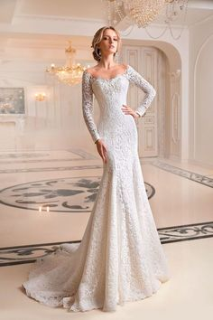 "Tatiana Kaplun ""Melaniya"" Gorgeous Embroidered Lace Sweetheart Trumpet Wedding Dress / Bridal Gown with Off Shoulder Illusion, Long Sleeves, a Cor. Princess Wedding Dresses, Black Wedding Dresses, Bridal Dresses, Wedding Gowns, Lace Wedding, Wedding Dress Trumpet, Wedding Robe, Cinderella Wedding, Modest Wedding"