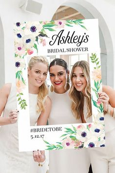 Use this fun, Instagram-style printable photo booth prop to encourage guests to snap a few pics.  What you'll need: Bridal Shower Photo Prop ($18, etsy.creativeuniondesign.com)