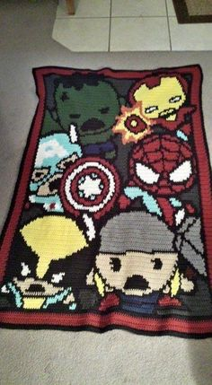 (4) Name: 'Crocheting : Marvel Kawaii - Baby Blanket 120x140  Everett would love this!