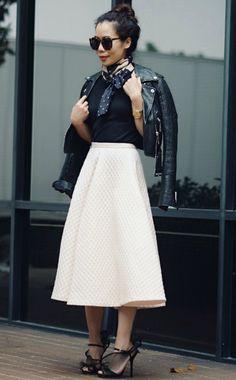 5.14 classy: polka dots (River Island leather jacket + Ann Taylor halter top + Ann Taylor silk polka dot scarf + H&M full skirt + Dolce & Gabbana sandals + Karen Walker sunnies)