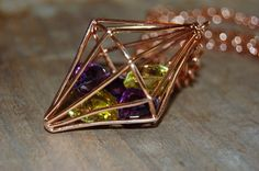 Amethyst Topaz in Cage long link necklace. Rose gold.