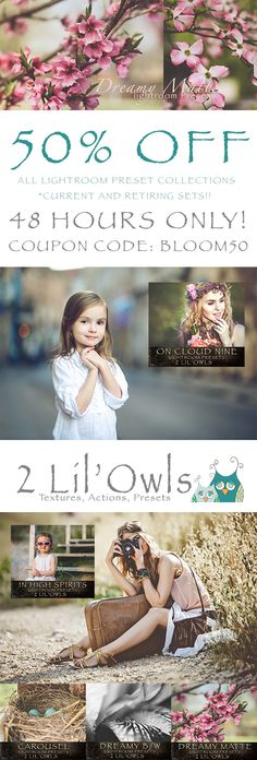For 48 hours only, 2 Lil' Owls Studio (Denise Love) is offering Bloom fans a rare 50% discount with the code BLOOM50 on all Lightroom preset collections including the retiring collections which have been drastically reduced in price! While you are there, have a look around the site and check out all of the beautiful texture collections! http://2lilowls.com/shop/lightroom-presets/