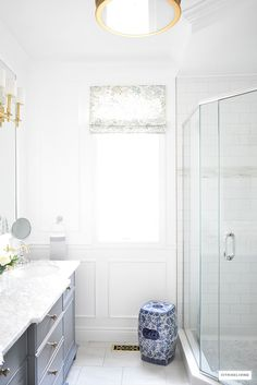 Gorgeous traditional meets modern master bathroom reveal with an elegant color palette of grey, white and brass, accented with blue and white chinoiserie. Half Bathroom Decor, Modern Master Bathroom, Bathroom Interior Design, Home Interior, Living Room Interior, Bathroom Ideas, Shiplap Bathroom, Bathroom Inspo, Interior Ideas