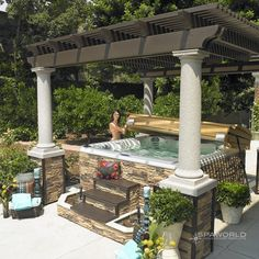 Backyard patio ideas hot tub outdoor design trends for summer covered inexpensive Hot Tub Backyard, Hot Tub Garden, Backyard Patio, Backyard Landscaping, Hot Tub Pergola, Landscaping Ideas, Cheap Pergola, Backyard Storage, Rustic Backyard