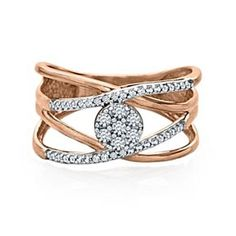 7c65cd0cf 1/4 Carat Real Round Cut Diamond Cross Over Band Ring In 10K Solid Rose Gold  # With Free Stud Earring by JewelryHub on Opensky