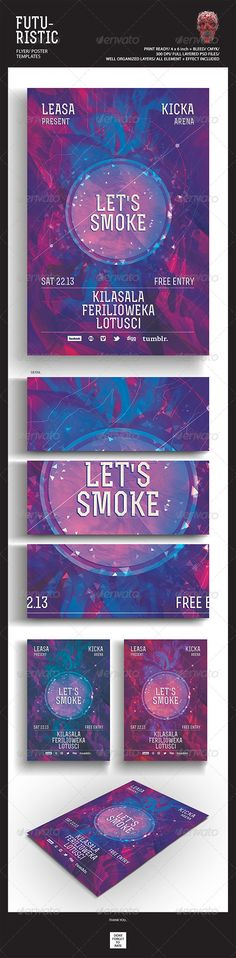 """Futuristic Flyer/Poster  #GraphicRiver        Featured Flyers                Flyer Artwork  """"Let's Smoke"""" This flyer was designed to promote an Electro / Dubstep / Dance / Drum and Bass / Techno / House music event, such as a gig, concert, festival, dj set, party or weekly event in a music club and other kind of special evenings. This flyer can also be used for a new album promotion or other advertising purposes.  Detail :   1 Psd files  4×6 with 0.25 inch bleed area  300 dpi/CMYK…"""