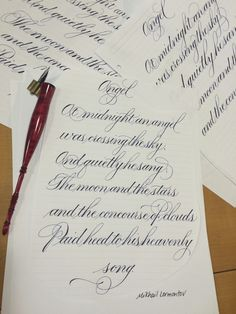 Copperplate lettering of Angel poem stanza by Mikhail Lermontov. lettering by Shelly-Ann Guinn