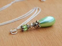 Mint Bridesmaid Necklace mint green wedding by SheJustSaidYes, $17.00