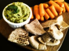 Sweet Pea Dip and carrots or pita slices make the perfect, light #snack. #dips #vegetables