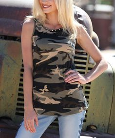 Loving this Green & Brown Camouflage Embellished Tank on #zulily! #zulilyfinds