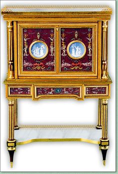 Pierre Mourey, IGMA artisan - Louis XVI fall front opening secretaire  East Indies satinwood veneer and purpleheart filets adorned with wedgwood medallions. Carrare marble top worn with a pierced gallery. Polychrome paintings depicting arabesques and cameos in the antique taste. Rich ornaments of engraved and gilt bronzes.