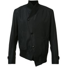 Ann Demeulemeester Grise asymmetric bomber jacket ($870) ❤ liked on Polyvore featuring men's fashion, men's clothing, men's outerwear, men's jackets, black and mens asymmetrical jacket
