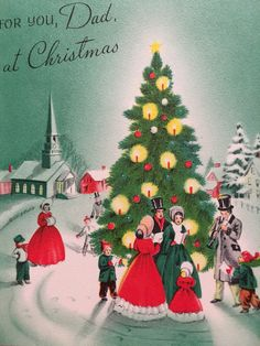 A personal favorite from my Etsy shop https://www.etsy.com/listing/488959457/vintage-christmas-card-christmas-village