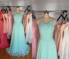 Mint halter Long Bridesmaid Dress/Wedding Party Dresses/Evening Dress/Prom Dress/Maxi Dress/Formal Dress 2015 by PromDressHeaven on Etsy https://www.etsy.com/listing/217554464/mint-halter-long-bridesmaid-dresswedding