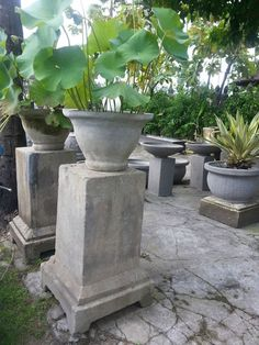 Statues sculptures online large garden planter polished rainbow balinese cement lilly bowl garden pot stand water plant large 142cm workwithnaturefo
