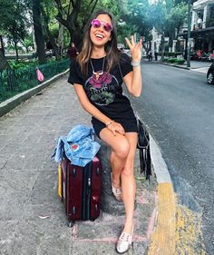Outfit details: Necklace - morenacorazon.com Shirt dress: @compassionbrands x lovetribeapparel.com Available at Macy's Jacket: luna1969.com Shoes: ecupormexico.com #ootd #traveloutfit #casual #casualstyle #airplaneoutfit #travellight