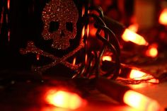 Decoration Cool Skeleton Symbol Decoration With Gloomy Lighting Focusing On Light Orange Miniature Light Set, Stick Skull Beads 55 Most Terr...