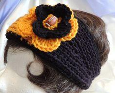 Black & Gold Stripe Football Fan Knitted Headband by AuldNouveau, $10.99