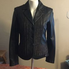 Leather and suade jacket. Gorgeous soft black leather jacket with brown suede weaving on the front. Perfect condition. Tribal sportswear Jackets & Coats