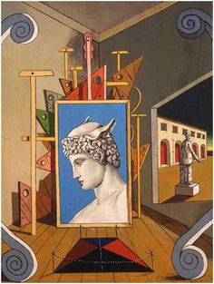Giorgio de Chirico Metaphysical interior with head of Mercury, 1969 Italian Paintings, Art Antique, Arte Popular, Magritte, Traditional Paintings, Italian Artist, Art For Art Sake, Art Design, Surreal Art