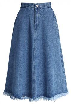 A-line Midi Denim Skirt with unfinished hem
