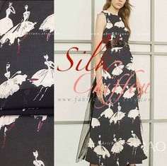 maxi dress in Black Chiffon Pure Silk Ballet dancers. Online silk store